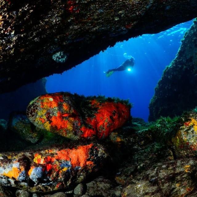 """""""Capraia Cave"""" stock image"""