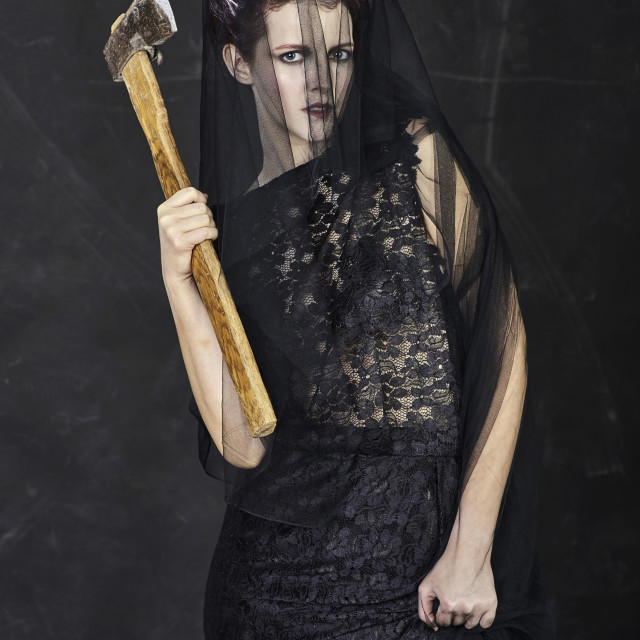 """Mourning Widow with Axe - Standing"" stock image"