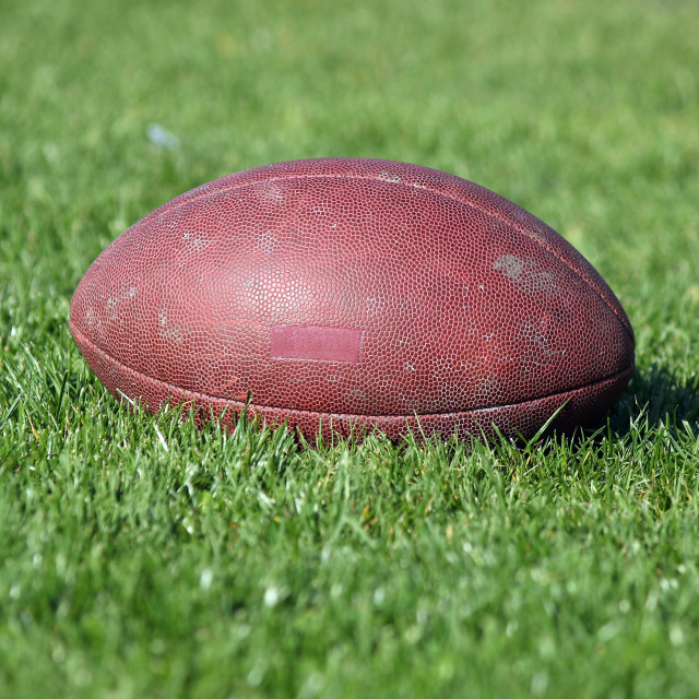 """old American football ball on green grass"" stock image"