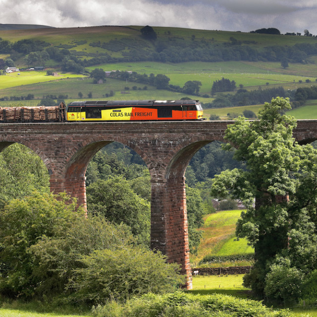 """Colas Rail Freight train on Dry Beck Viaduct."" stock image"