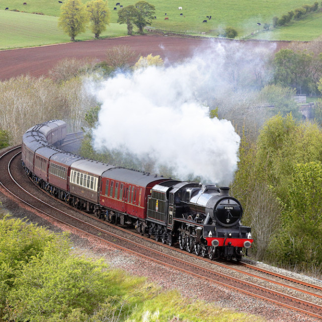 """Steam train. LMS Jubilee Class 'Leander'."" stock image"