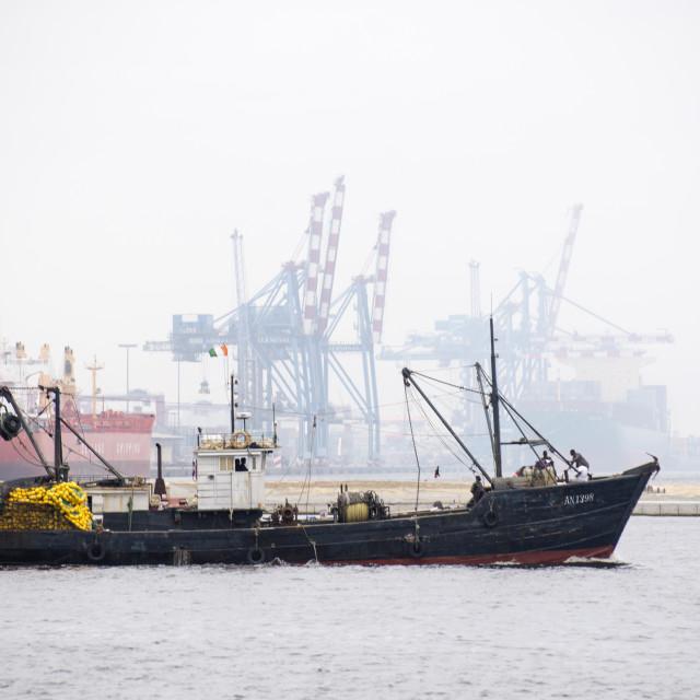 """Trawler leaving port"" stock image"