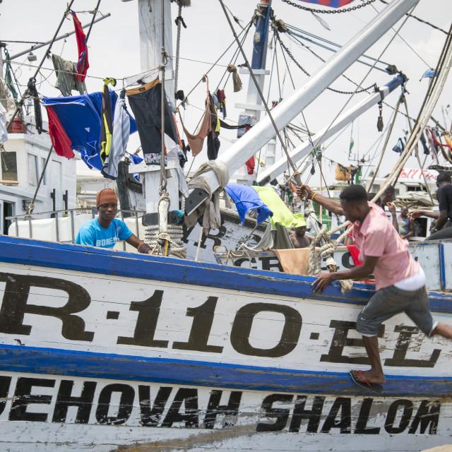 """""""Artisanal fishing boat Ghana"""" stock image"""