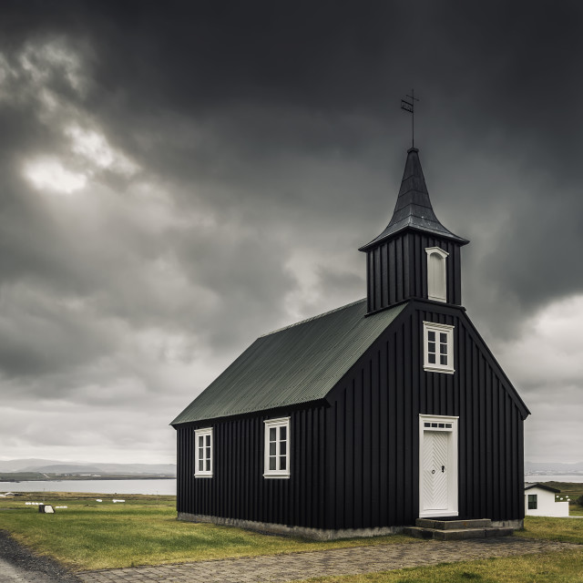 """Black church in Iceland"" stock image"