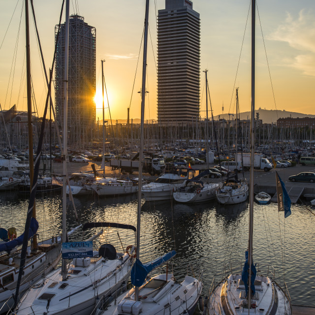 """Seaport at sunset, Barcelona."" stock image"