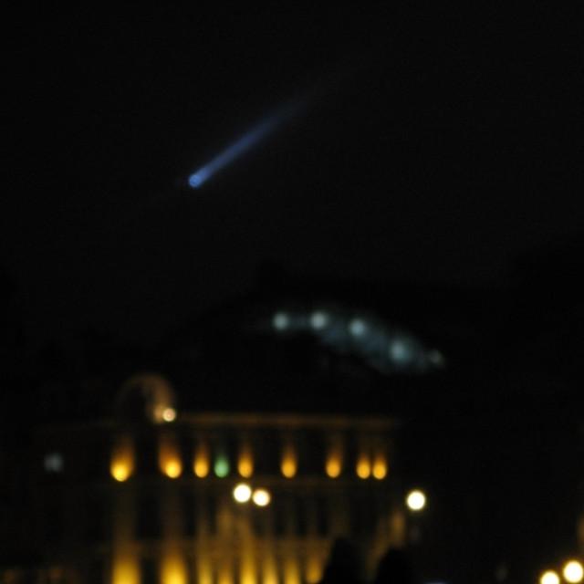 """Blue comet fantasy light blur"" stock image"