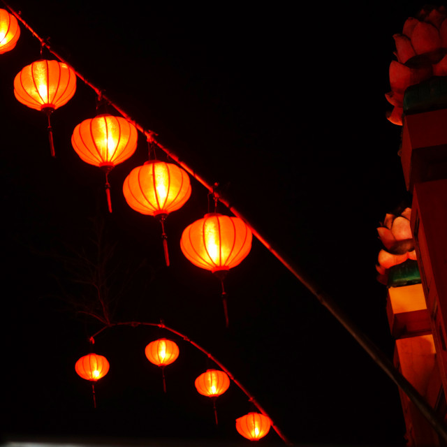 """Traditional lanterns in Old Town Hoi An, Vietnam by night"" stock image"