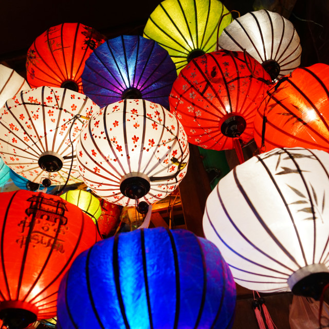 """Traditional lanterns in Old Town Hoi An, Vietnam"" stock image"