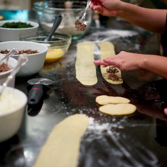 """""""Making raviolis"""" stock image"""