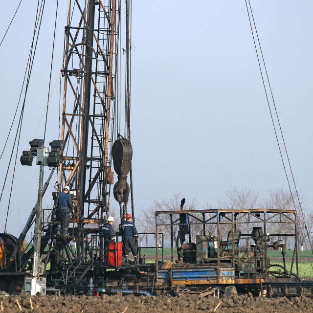 """""""oil workers on land drilling rig"""" stock image"""