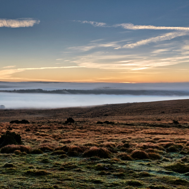 """Autumn sunrise over Dartmoor National Park."" stock image"