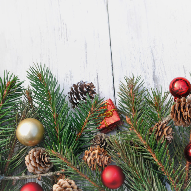 """Christmas decoration on fir branches"" stock image"