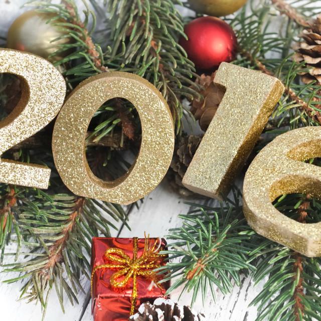 """2016 on Christmas ornament"" stock image"