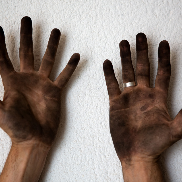 """""""black dirty man hands open palms on white"""" stock image"""