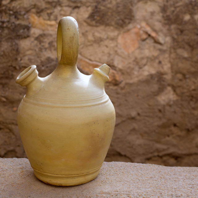 """Botijo traditional clay pot jug to keep fresh water"" stock image"