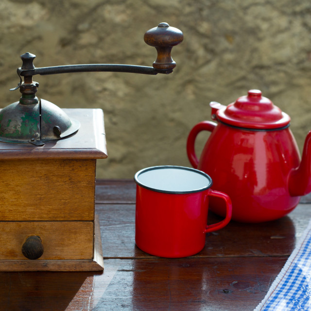 """retro old coffee grinder with vintage red teapot"" stock image"