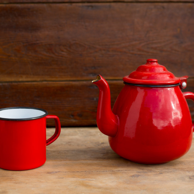 """retro old vintage teapot and red cup"" stock image"