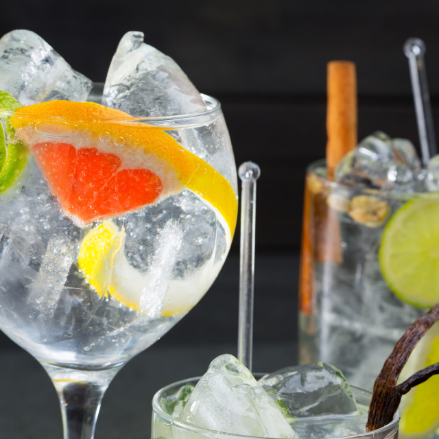 """Gin tonic varied cocktails with lima lemon and grapefruit"" stock image"