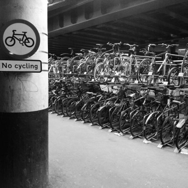 """No Cycling, London Bridge Station"" stock image"