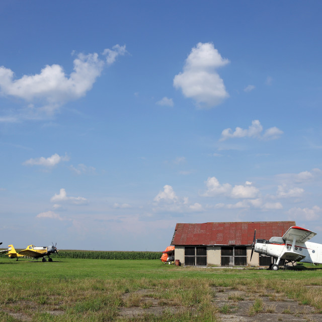 """""""crop duster airplanes on airfield"""" stock image"""