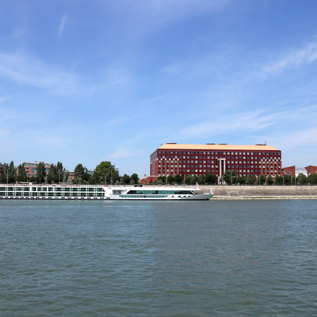 """modern building and cruiser on Danube river Budapest"" stock image"