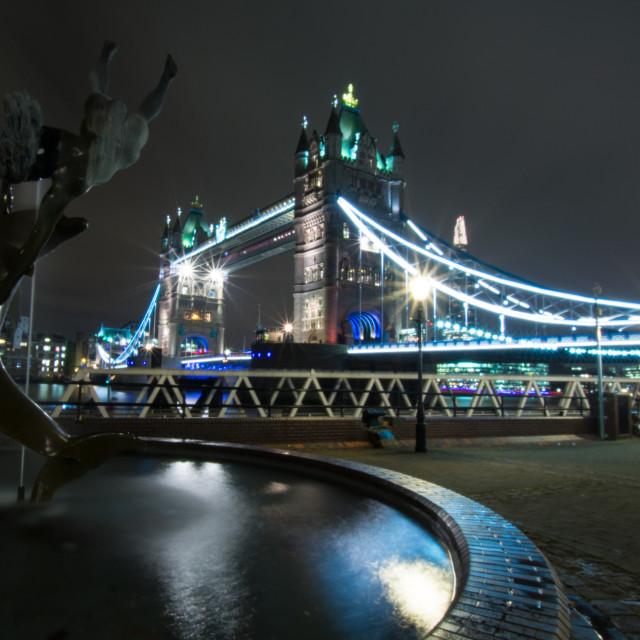 """Tower Bridge Fountain"" stock image"