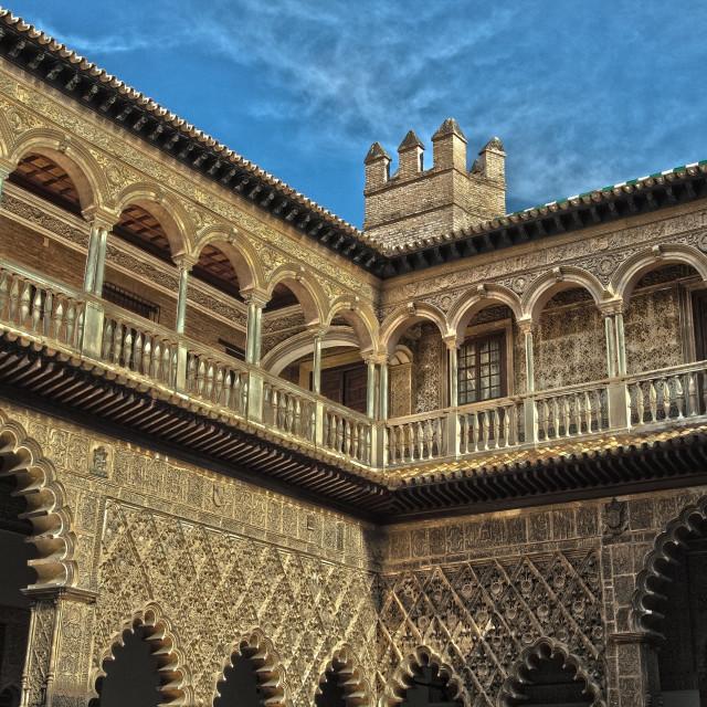 """Gallery inside a Moorish castle"" stock image"