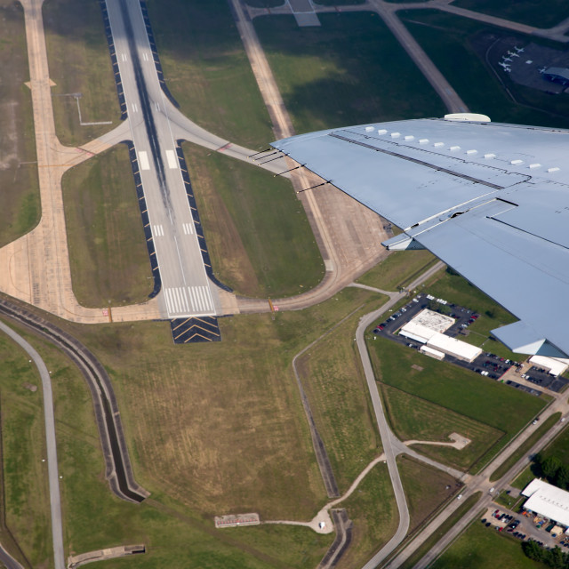 """Airport lannding road view from aerial view"" stock image"