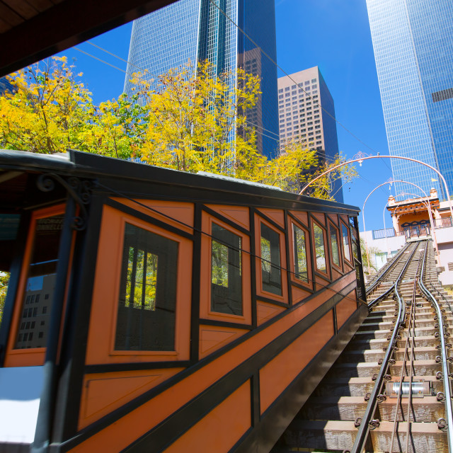 """Los Angeles Angels flight funicular in downtown"" stock image"