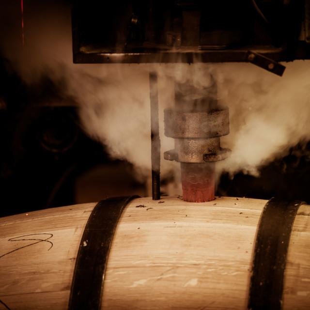 """Barrel Making in Bordeaux Wineyard"" stock image"