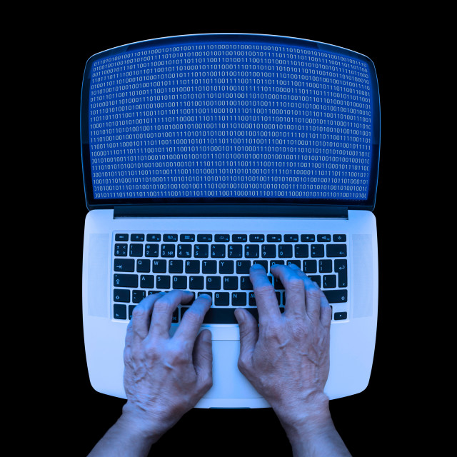"""""""Binary Coding on the Laptop"""" stock image"""