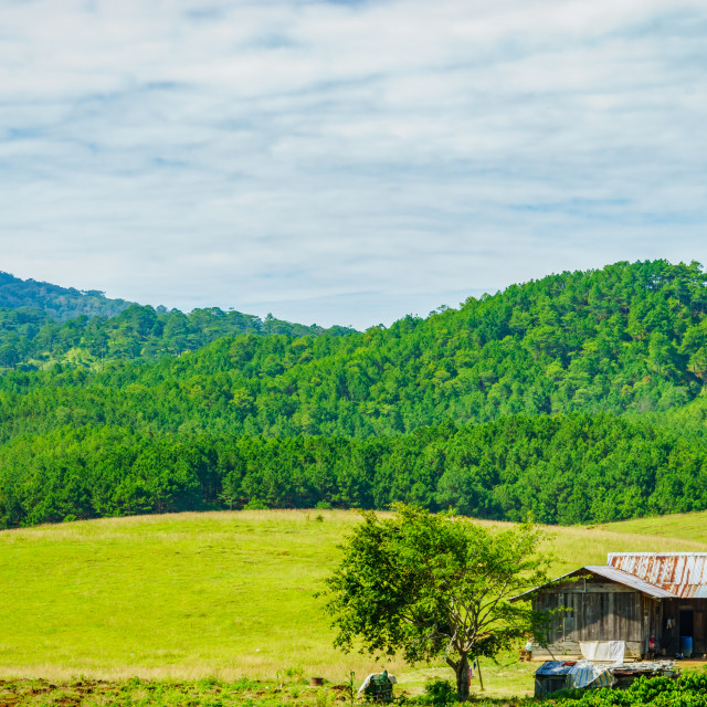 """""""Houses in valley"""" stock image"""