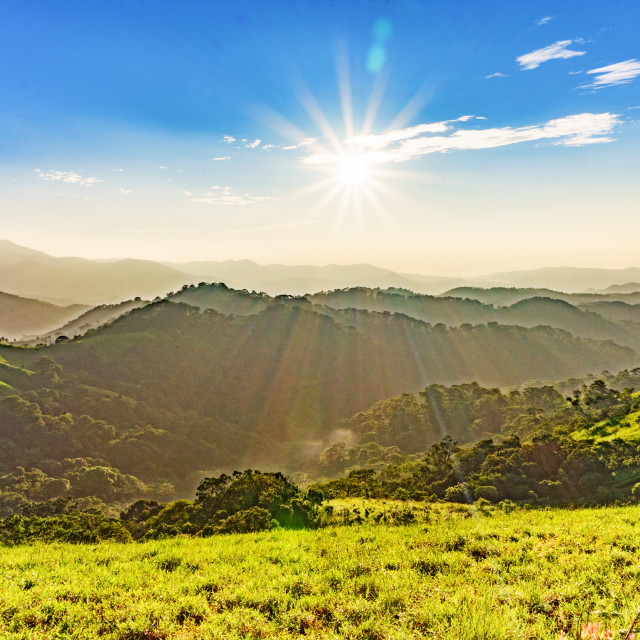 """Landscape of mountains and sun"" stock image"