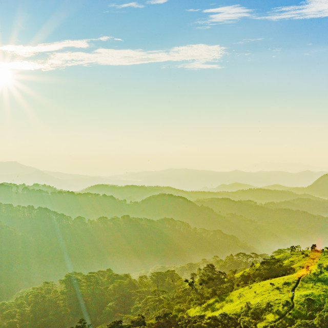 """Landscape of the hills and sun"" stock image"