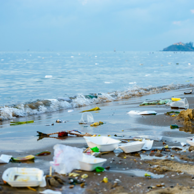 """Trash on the beach"" stock image"
