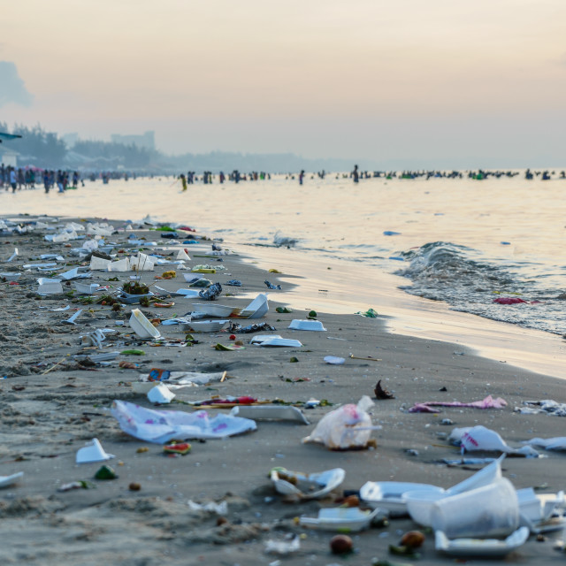 """Beach pollution"" stock image"