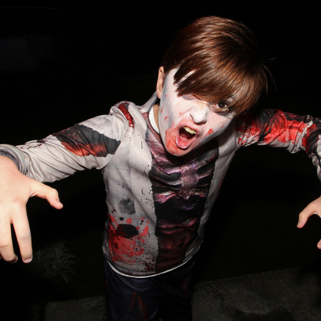 """Zombie Boy at Halloween 1"" stock image"