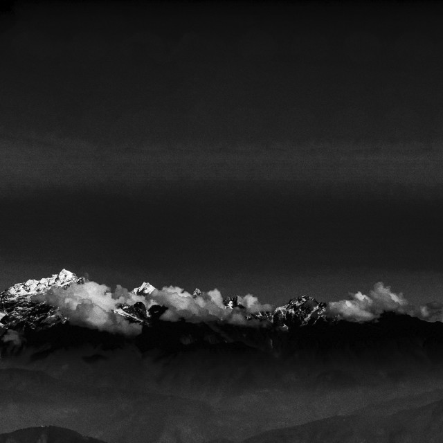 """Panoramic view of majestic Kanchenjunga range"" stock image"