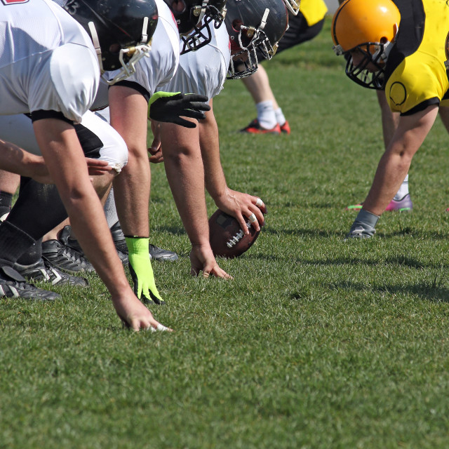 """american football players in line"" stock image"