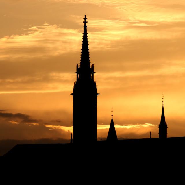 """sunset Fisherman bastion silhouette Budapest Hungary"" stock image"