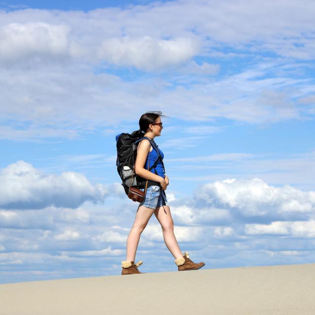 """""""girl hiker walking in the desert"""" stock image"""