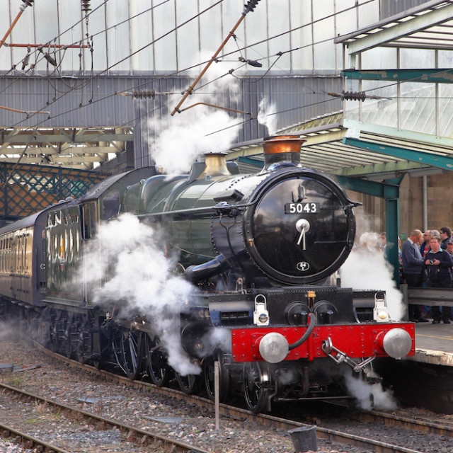 """Steam Train Carlisle Railway Station."" stock image"