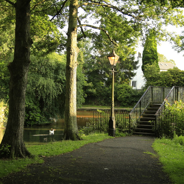 """Footbridge over the Bridgewater Canal"" stock image"