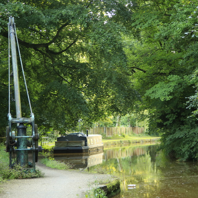 """Vintage Crane and Barge on the Bridgewater Canal"" stock image"