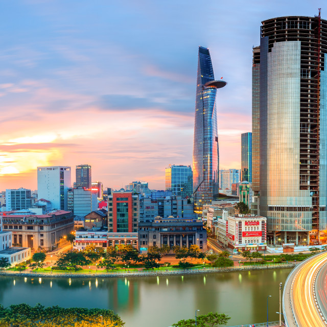 """Sunset Ho Chi Minh City, Viet Nam"" stock image"
