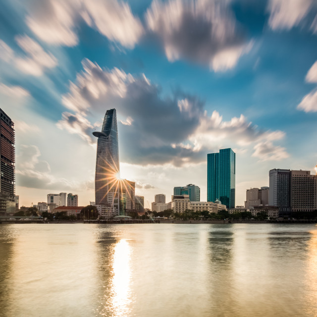 """Sunset Ho Chi Minh City, Viet Nam"" stock image"