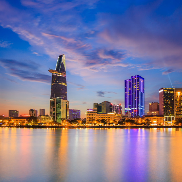 """Ho Chi Minh City by night, Viet Nam"" stock image"