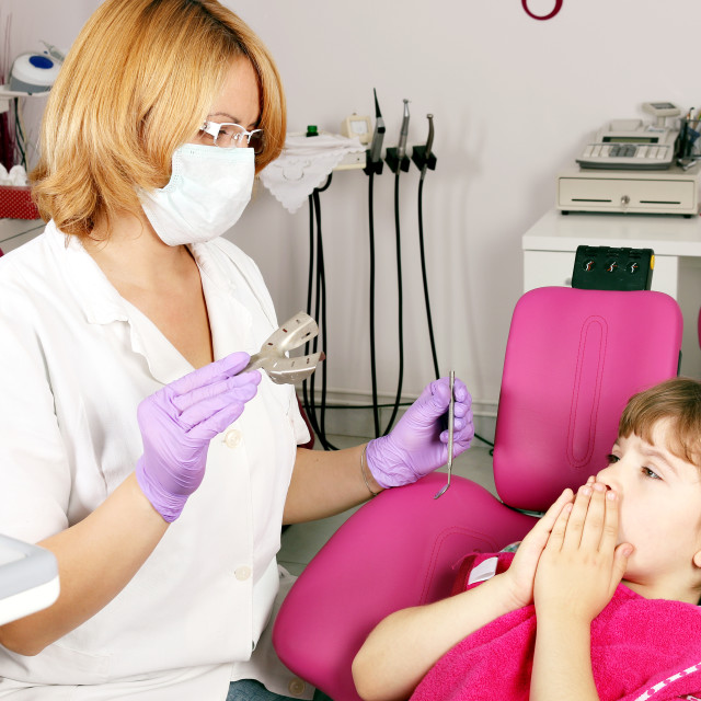 """little girl is afraid of the dentist"" stock image"