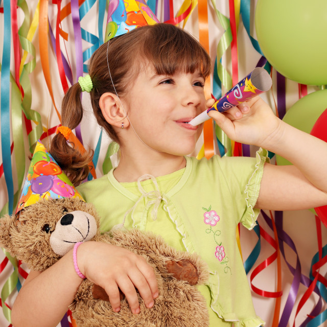 """happy little girl birthday party"" stock image"