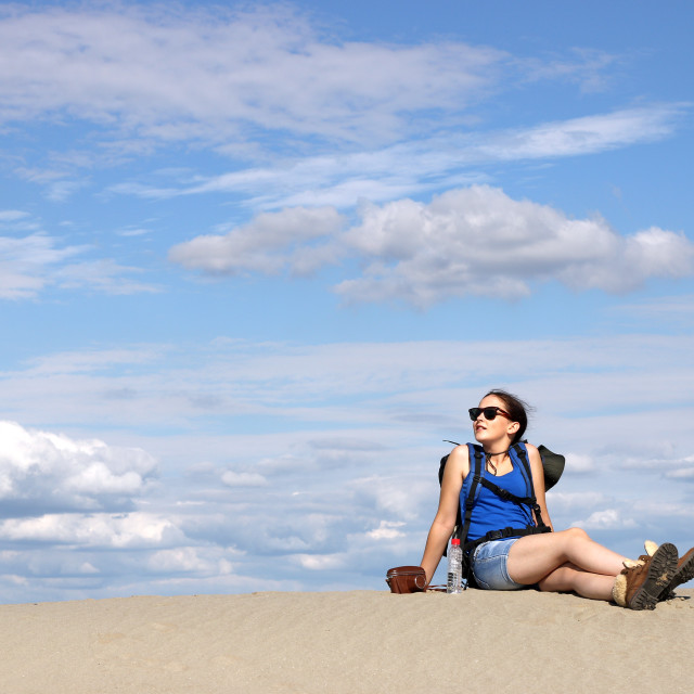 """girl hiker is resting in the desert"" stock image"